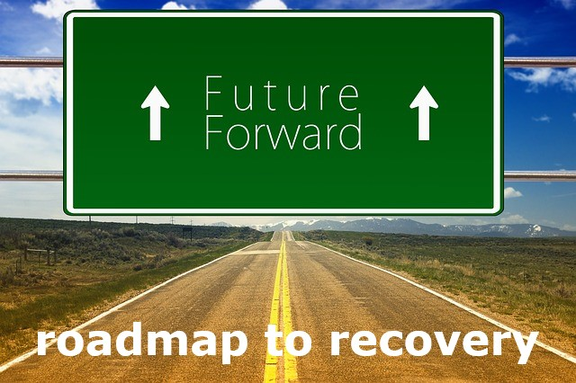 road sign saying Future Forward and Roadmap to recovery